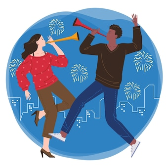若い男性と女性のカップルが一緒にパーティーをし、夜の花火と街を背景にトランペットを吹く