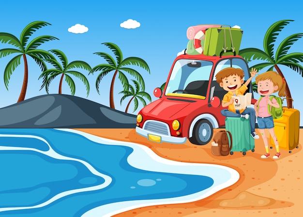Пара в пляжном отдыхе