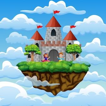 Пара принца и принцессы в замке на облаке