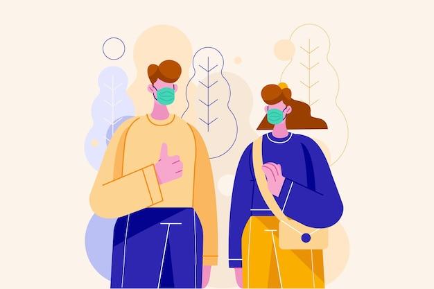 ウイルス性疾患を予防するためにマスクを着用しているカップル
