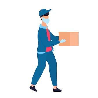 Курьер в защитной медицинской маске держит посылки в руках. бесплатная доставка еды.