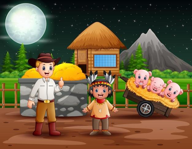 農場のカウボーイとアメリカのインド人の少年