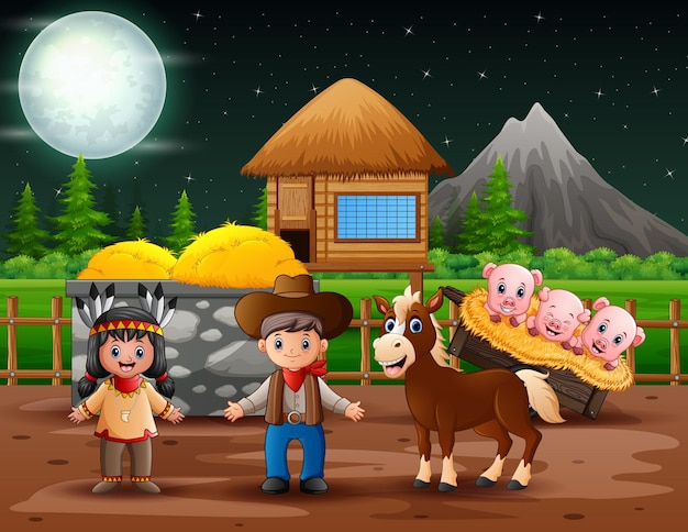 農場のカウボーイとアメリカインディアンの女の子