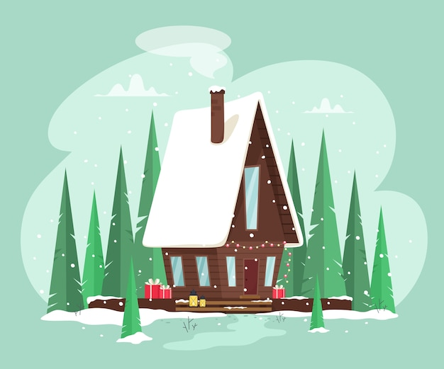 Уютный сказочный домик, украшенный гирляндами. рождественский лес, сказка. иллюстрация в мультяшном плоском стиле.
