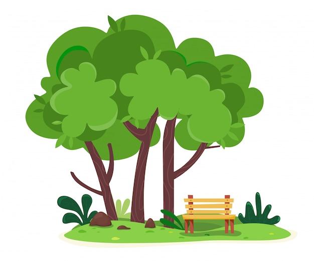 Уютное место для отдыха с лавкой на природе среди деревьев.