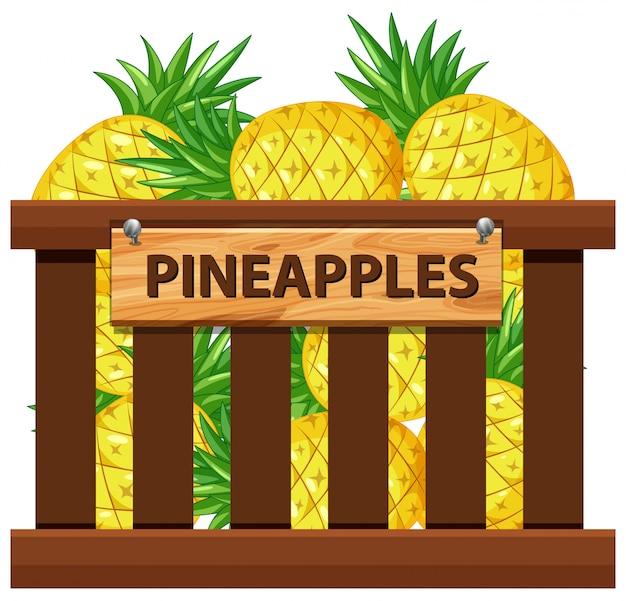 パイナップルの木箱