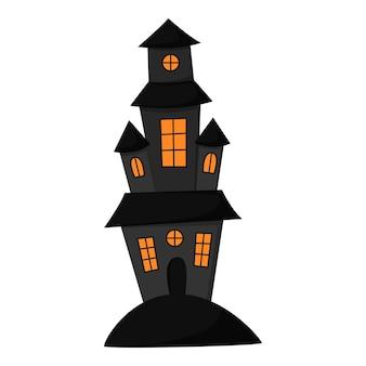타워가 있는 오싹한 집. 언덕에 검은 성. 할로윈.