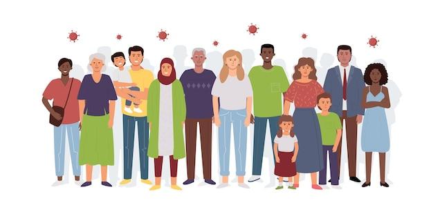多様な人々の群衆とコロナウイルス、covid-19に対する集団免疫の象徴。