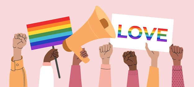 게이 퍼레이드에서 포스터, 트랜스젠더, lgbt 및 깃발을 들고 있는 사람들. 인권, 차별 배너. 성소수자 기호입니다. 격리 된 분홍색 배경에 평면 스타일에서 벡터 일러스트 레이 션.