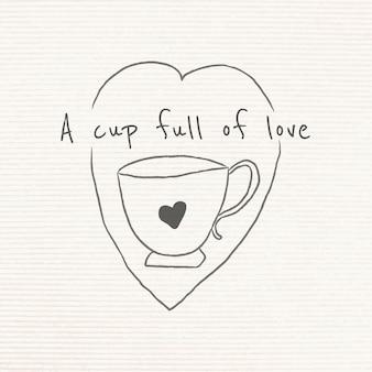 愛の落書きスタイルのジャーナルでいっぱいのカップ