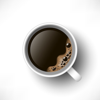 一杯のブラックコーヒーのトップビュー