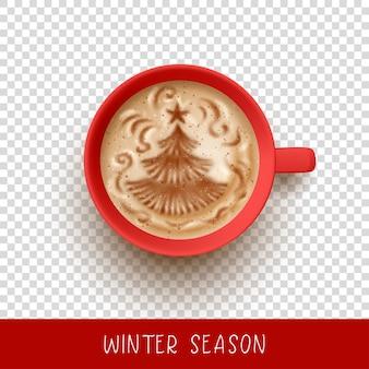 クリスマスツリーのラテアートとカプチーノのカップ。一杯のコーヒーの上面図