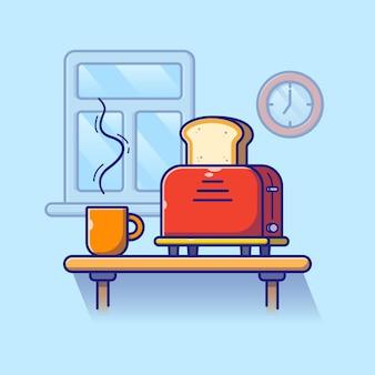 朝食用のテーブルの上のコーヒーとローストパンのカップ。