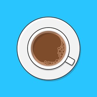 한 잔의 커피와 접시. 평면도