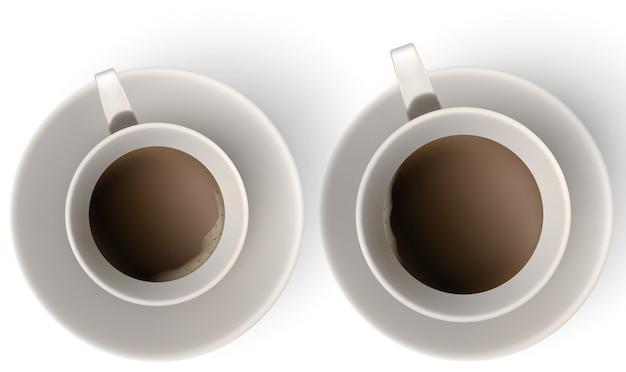 Чашка кофе и блюдце, вид сверху.