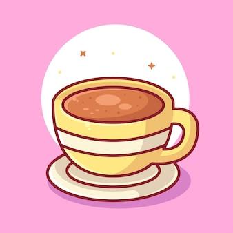 一杯のコーヒーのロゴベクトルアイコンイラストフラットスタイルのプレミアムコーヒー漫画のロゴ
