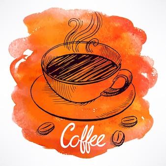 水彩画の染みの背景に一杯のコーヒー。手描きイラスト