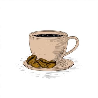 Чашка кофе с кофейными зернами, рисованной старинные иллюстрации.