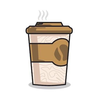 かわいい線画イラストでおいしいホットコーヒーのカップ