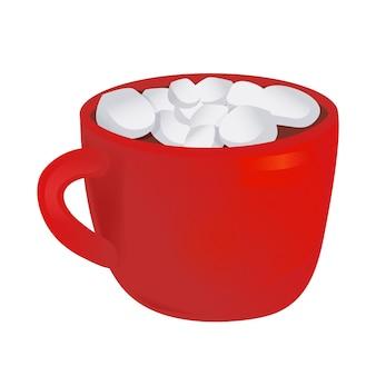 Чашка горячего шоколада и зефира. векторная иллюстрация