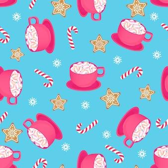 Чашка горячего какао с леденцом и имбирной звездочкой. бесшовный узор на рождество