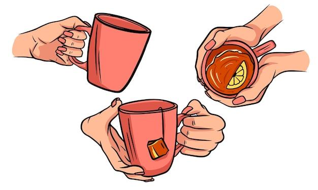 女性の手にお茶を一杯。レモン入りティーバッグを淹れました。 Premiumベクター