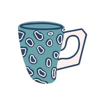 白い背景で隔離のヒョウ柄のカップ。ベクトルイラスト