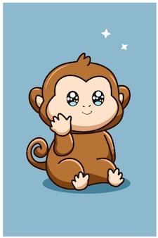 キュートで面白い猿の動物の漫画イラスト