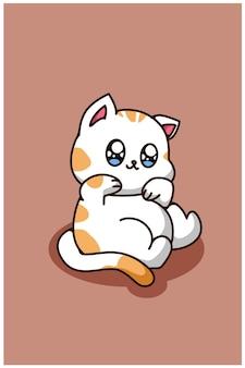 キュートで幸せな赤ちゃん猫、動物漫画イラスト