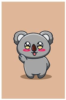 キュートで幸せな赤ちゃんコアラ漫画イラスト
