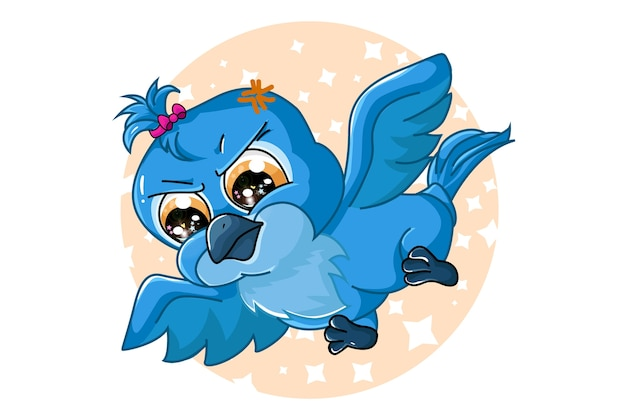 Милая голубая птица ара, дизайн животных мультфильм
