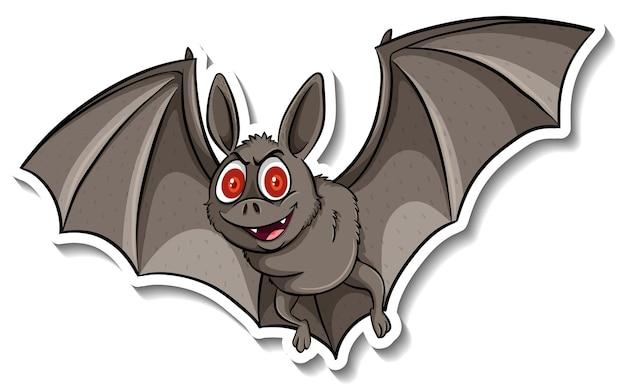 Наклейка с милым животным из мультфильма летучей мыши