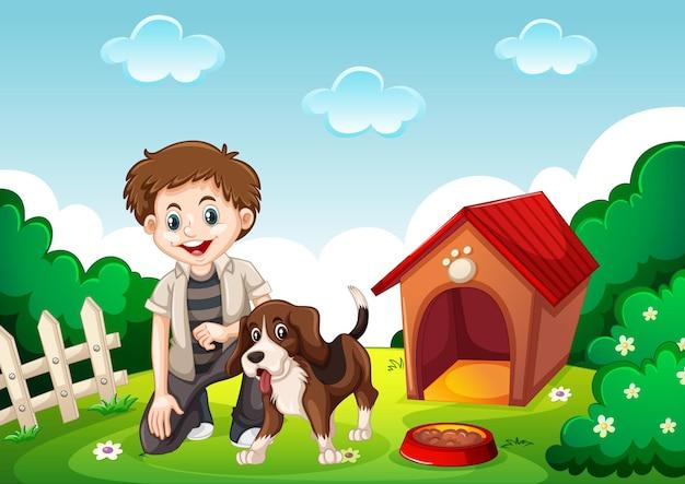 庭のシーンで飼い主と一緒にかわいいビーグル犬