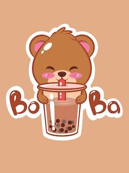 Милый медведь пьет чай боба мультипликационный персонаж иллюстрация
