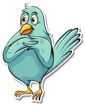 Наклейка с милой синей птицей и мультяшным животным