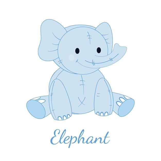 귀여운 파란 코끼리. 아이들을위한 장난감.