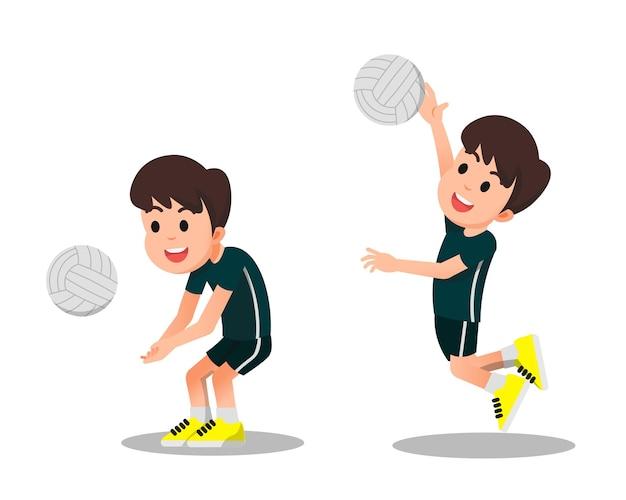 Милый мальчик играет в волейбол в двух позах