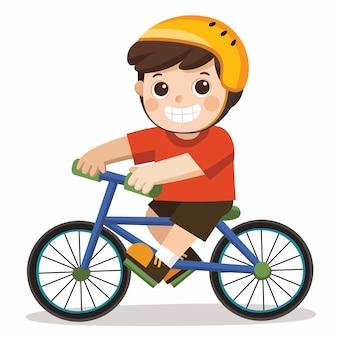白い背景で自転車に乗ってかわいい男の子。
