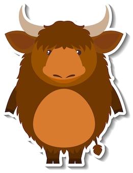 かわいい雄牛または水牛の漫画の動物のステッカー