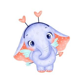 Милый мультяшный купидон-слон изолирован. день святого валентина животные.