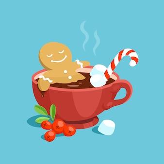 귀여운 만화 진저 브레드 남자가 핫 초콜릿 목욕을합니다.