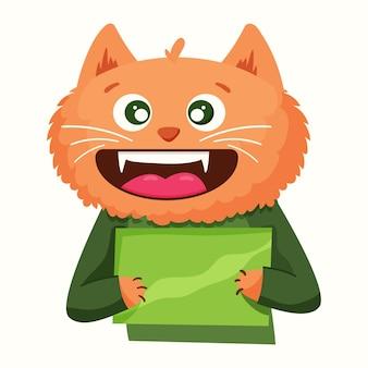 Милый кот в мультяшном стиле держит табличку. векторная иллюстрация