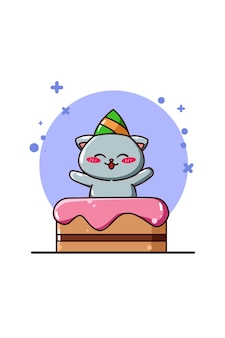생일 케이크 동물 만화 일러스트와 함께 귀여운 고양이