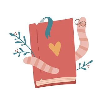 귀여운 애벌레 책벌레 벌레 귀여운 만화 캐릭터 교육 마스코트