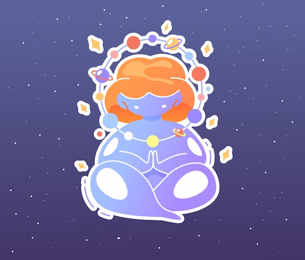 宇宙の太りすぎのかわいい女の子が蓮華座に座り、星空を瞑想します。世界ヨガデーに敬意を表して精神的なイラスト。瞑想の愛好家、精神的な実践。
