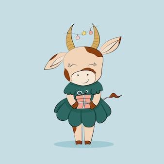 Милая корова в зеленом платье с подарком с новогодней гирляндой на рогах