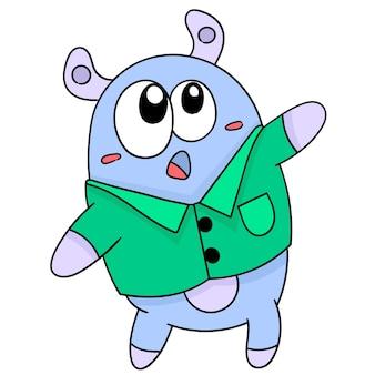 경외감에 멍한 표정을 하고 있는 귀여운 생물, 캐릭터가 귀여운 낙서를 그립니다. 벡터 일러스트 레이 션