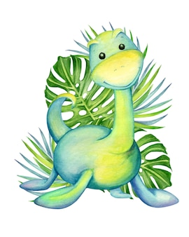 푸른 색의 귀여운 공룡이 열대 잎의 배경에 선다. 수채화, 동물, 만화 스타일, 격리 된 배경에 어린이 장식.