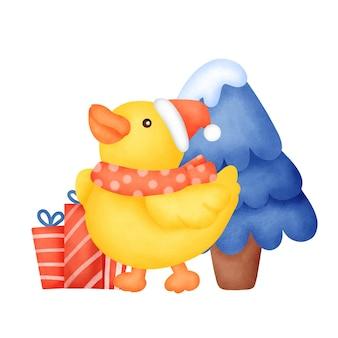 수채화 스타일의 크리스마스 카드를 위한 귀여운 오리.