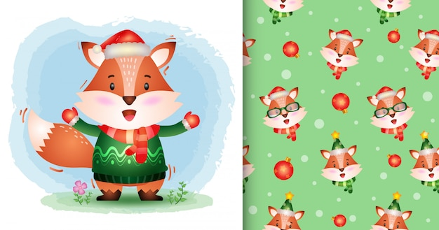 帽子、ジャケット、スカーフのかわいいキツネクリスマスキャラクターコレクション。シームレスなパターンとイラストのデザイン